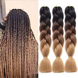 """Hellbraunes flechthaar online-Braiding Hair Ombre Kanekalon Synthetic Braiding Hair Haarverlängerung für Twist Braids (24 """"Schwarz-Dunkelbraun-Hellbraun)"""