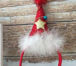 2019 estrelas headbows christmas Natal estrela de cinco pontas lantejoulas chapéu de Natal headband pena das crianças festa bela headwear estrelas headbows christmas barato