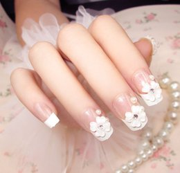 chiodi lunghi del partito Sconti Nuovi 24 pezzi Party Wedding Show French Manicure 3D Long false false Sticker Faux Nails Tips con colla