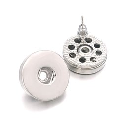 12mm snap button charm Promo Codes - Hot Sale Flower 027 Interchangeable Fashion Crystal Rhinestones 12mm 18mm Snap Button Earring For Women Ginger Charms Gift