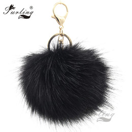 fur ball purse charms Coupons - key chain purse Furling 1PC first Fluffy Large 12CM Faux Fox Fur Pom pom Ball Key Chain Purse Bag Car Pendant Charm