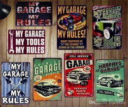 Aceite de coches de época online-My Garage My Tools Mis Reglas Vintage Home Decoración de Pared Pub Bar House Car Gas Oil Retro Cartel de Hojalata Placa Colgante Letreros de Metal