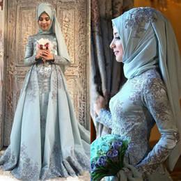 2019 arabische moslemische kleider Muslim Arab Arab Blue Prom Dresses Lange Ärmel Stehkragen Seidensatin Mittlerer Osten Abendkleider Abendgarn Spitze türkische Empfangskleider 2019 rabatt arabische moslemische kleider