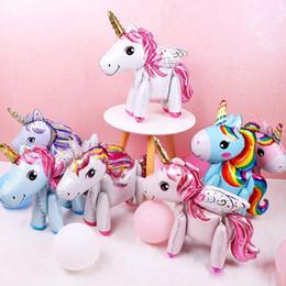 globos de papel rosa Rebajas 3D diy lindo arco iris unicornio foil globos Rosa Azul Púrpura Unicornio Soporte Globos boda fiesta de cumpleaños Decoración para niños juguetes