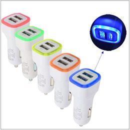 2019 steckerwerkstoffe 5 V 1000 mAh 2.1A Doppel USB Stecker Ports Auto Ladegeräte Adapter mit LED-Licht Ladeadapter Universal für Samsung iPhone PC Material günstig steckerwerkstoffe