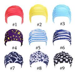 2019 sombreros de baño para el pelo largo Womens Swimming Hat Swim Bañarse Turban Elástico mujer Cabello largo Grandes y cómodos gorros de natación Amazonas Patrón multicolor - entero