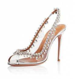 Women Dress Med Heels Wedding Shoes Bride PVC Peep toe Slingback High Heels  Gorgeous Rhinestone Pumps Women Shoes Plus Size dc8f316ca200