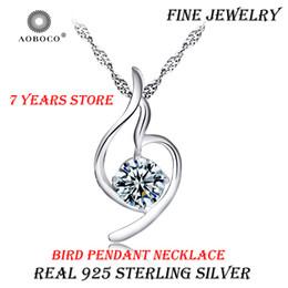 78dfba5f2dac Real 925 Sterling Silver Bird Gran Collar Único de Cristal Colgante Liso  Romántico Gargantilla Para Mujeres Chica