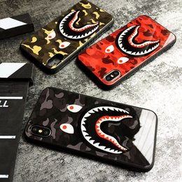 Camo Shark Kılıf iphone X XR XS Max 6 7 8 6 S Artı 2 1 cep cep telefonu arka kapak cheap s cell phone case nereden s cep telefonu çantası tedarikçiler