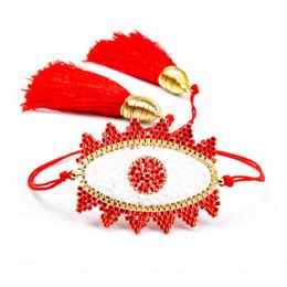 2019 браслет с красными глазами 2019 новый популярный браслет женщин кисточкой ювелирные изделия Миюки тканые красный дьявол глаз шаблон браслет скидка браслет с красными глазами