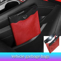 Armazenamento inteligente de sacos on-line-Smart Trash LED Car lata de lixo Waterproof Bag Passenger Side Couro Artificial bolso de armazenamento Vazamento reutilizável Viajando portátil