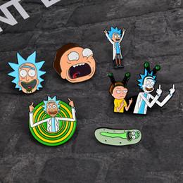 Pins de distintivo de botão on-line-Rick e Morty Clássico Dos Desenhos Animados ícones Estilo Enamel pin Emblema Botões Broche Anime Amantes Camisa Jaqueta Jeans lapela pin
