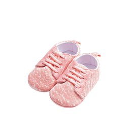 casual comfy shoes Promo Codes - LONSANT Toddler Crib Shoes New Cute Girl Pink Lace-Up mesh Sport Shoes autumn fashion Baby Girl soft comfy casual
