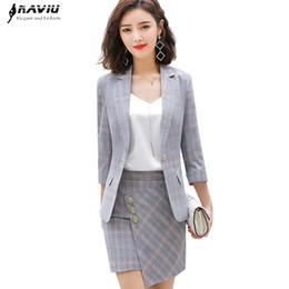 8b2187ac9 Naviu nueva moda traje de dos piezas a cuadros blazer y falda conjunto ropa  de mujer oficina estilo de trabajo formal ropa de trabajo traje de verano