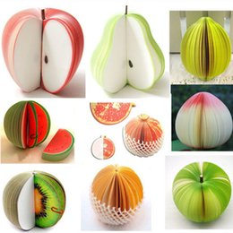 paper fruit notes Promo Codes - Decorative Fruit Shaped Memo Pad Red Apple Green Fruit Note Paper Memo Pad Sticker Notepads