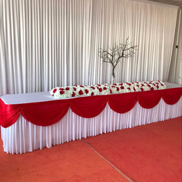 wedding table skirting swag Promo Codes - Free Shipping Ice Silk Valance Table Skirt Colorful Table Skirtting with Swag Pleated Ruched Skirt for Wedding Decor