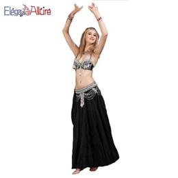 7c45c89181904 E&A Belly Dance Costume Set Shining Bellydance Clothes Performance Wear Bra  Belt Skirt Set Long Black Dress Halter Top Accessory