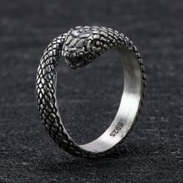 925 sterling silber schädel ring Rabatt 925 Sterling Silber Snake Skull Gothic Ringe Für Frauen und Männer Antik Retro Punk Thai Silber Wikinger Ringe Tier Schmuck