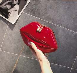 mochilas sexy Desconto Mulheres Noite Bolsa de Ombro PU de Couro Lábios Vermelhos Sexy Saco de Embreagem Pequena Cadeia Bolsa Bolsas Dama de Honra Da Noiva Festa de Casamento