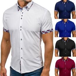 Homens colarinho duplo on-line-Homens Camisa Casual Moda Turndown Short Sleeve Collar Magro Verão Top Camisa Dos Homens de Moda