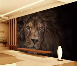tallas de la pared china Rebajas Venta al por mayor fondos de pantalla 3d Promoción de HD Mighty Animal salvaje León Sala de estar Dormitorio Fondo Decoración de la pared Mural Wallpaper