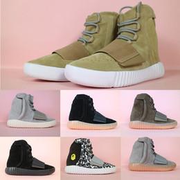 2019 старинные мужские ботильоны Новый Kanye West 750 Boots Мужчины Женщины Шоколад OG Русый Gum Хаки Vintage Black голеностопного Спортивная обувь Корзинки Скейтборд обувь 36-46 дешево старинные мужские ботильоны