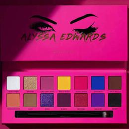 2019 conjuntos de escova nua Maquiagem dos olhos Alyssa Edwards Rose Red Paleta Da Sombra de Olho 14 Cores Matte Pressionado Paleta Da Sombra Com Pincel De Maquiagem