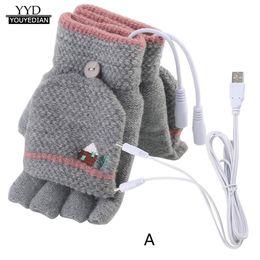 luvas de moda de dedo Desconto Luvas Mulheres Homens USB Aquecida Mitten FullHalf Inverno Quente Malha Mão Luvas 2018 Nova Moda guantes mujer homme