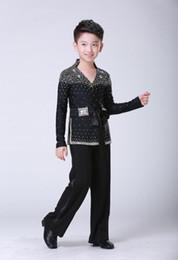 2019 детские рубашки с блестками Kids Boy Латинский бальный костюм Детский блестящий блестками Латинская рубашка Rumba Samba Dancewear танцевальный конкурс одежды скидка детские рубашки с блестками