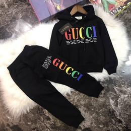 2019 ragazzi e ragazze di marca di moda tuta sportiva in cotone con cappuccio a maniche lunghe ragazza lettere camicia casual / maglione da