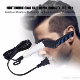 China haare perms online-Schnelle Bartglätter Kamm Multifunktionale schnelle Lockenwickler Glätten Dauerwelle Clip Comb Styler Elektrische Haar Bart Werkzeug für Männer