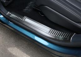 2019 soleiras de porta peugeot Car Styling 4PCS Stainless Steel Scuff placa interna do peitoril da porta Threshold Tampa guarnição Para Peugeot 5008 GT 2017 2018 soleiras de porta peugeot barato