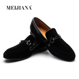 16d2f564c70d4 MEIJIANA Men Loafers Black Velvet With Braiding Flat Slip on Moccasins  Men's Dress Shoes Genuine Leather Casual Shoes #129570
