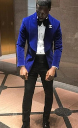new stylish three piece suit images Promo Codes - New Stylish Design Groom Tuxedos One Button Blue Velvet Shawl Lapel Groomsmen Best Man Suit Mens Wedding Suits (Jacket+Pants+Tie) 916