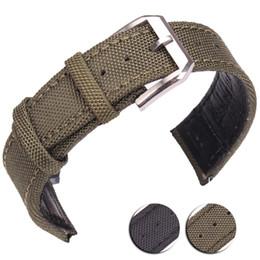 Canada 20mm 21mm 22mm Nylon + Cuir Véritable Bracelets Hommes Femmes Vert Noir Haute Qualité Bracelet de Montre Avec Silver Pin Buckle cheap 21mm leather watch strap Offre