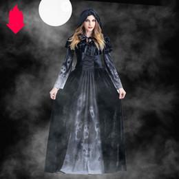 Costumi di film horror online-Hot Halloween costumi vestiti delle donne per Halloween Streghe Horror Cosplay Abbigliamento con stampato moda vestiti con il mantello + abiti