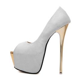 beca5acb22 Mulheres Bombas de salto alto Das Mulheres Sexy Peep Toe Bombas Sapatos de  Plataforma de Festa de Casamento Rosa Preto Branco sapatos tamanho 34-40