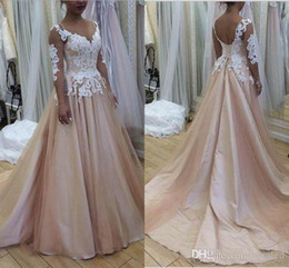 corset blush wedding dress Promo Codes - New Designer Blush Pink A Line Wedding Dresses For Western Country Garden Sheer Long Sleeve Appliqued Corset Back Summer Bride Wedding Gowns