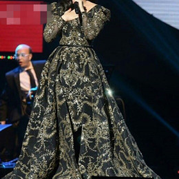 c0f3e87e8a 8 Fotos Venta de vestido de oro negro largo online-Vestidos de noche  desmontables Con cuello en