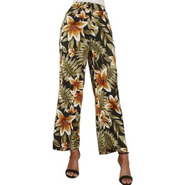Старинные штаны для печати онлайн-Summer Wide Leg Pants Women Floral Print Trousers High Waist Fashion Female Vintage Pants