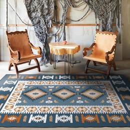 Alfombras turcas online-Bohemia estilo étnico diferente dominio turco multicolor Europea dormitorio floral piso de la sala de la alfombra alfombra de estilo cuadrado