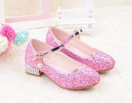 taille 11 sandales dorées Promotion Enfants princesse sandales dorées vêtements pour enfants filles fond mou chaussures rondes chaussures à talons bas robe de soirée rose argent taille d'or 26-35