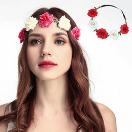 2019 corone di fiori Donna Rose Fascia per capelli Corona per capelli Archetti Fatti a mano Artificiale Balneare Fiore Fascia elastica Corona nuziale DH1087 corone di fiori economici