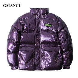chaquetas muy calientes Rebajas Hombres Invierno Brillante púrpura Muy gruesa Streetwear cálida chaqueta suelta Parka Personalidad de la moda Impreso en 3D hip hop Abrigo informal de chaquetas