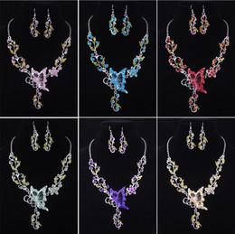 Canada 6 couleurs femmes papillon fleur strass pendentif déclaration collier boucles d'oreilles ensemble de bijoux bijoux de mode robe de mariée mariage ensembles de bijoux Offre