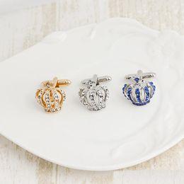 Sıcak Satış Yeni Kristal Taç Kol Düğmeleri Moda Lüks Zarif Erkekler Için Fransız Gömlek Kol Düğmeleri Düğmeleri Düğün cheap french crystal nereden fransız kristali tedarikçiler