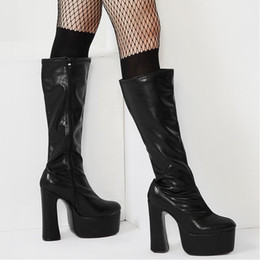 690d8698a29c Womens Knee-high Boots Square Block Chunky Heels Platform Side Zipper PU  Leather 15CM High Heeled long boot Big size knight boots Man womens high  heel long ...