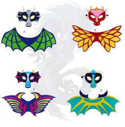 Máscara de cara de niña caliente online-Hot Kids Dragon Dinosaur Wing Mask Set Boys Girls Halloween Christmas Dress Up Disfraz Máscaras faciales Cape Props Party Supplies Regalos de fieltro