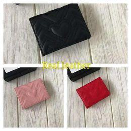 2019 foto della fattura del dollaro Frizione del progettista di modo di alta qualità Portafogli delle donne di marca del progettista Portafoglio di cuoio della vacchetta con il sacchetto di polvere 466492 della scatola