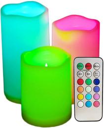 Velas que cambian de color remoto online-Velas de colores sin llama con temporizador y control remoto - Velas de luces de té LED que cambian de color, para decoración de cumpleaños de boda